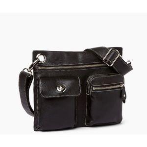 ROOTS leather black village bag crossbody